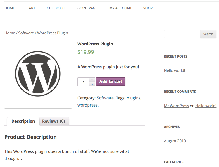 Sell with WordPress WooCommerce Product Page
