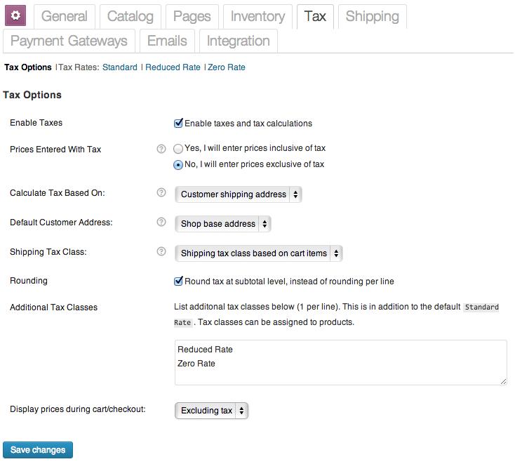 Sell with WordPress WooCommerce Tax Settings