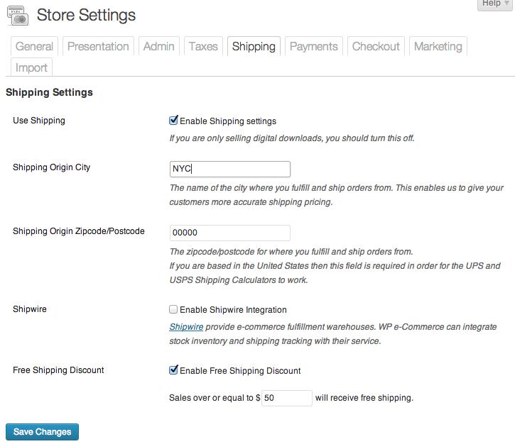 Sell with WordPress   WordPress eCommerce Plugin Shipping Settings