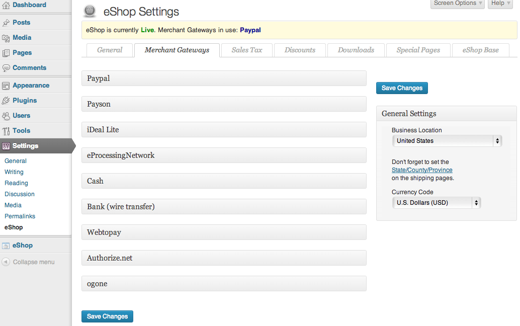 Sell with WordPress   eShop Payment Settings