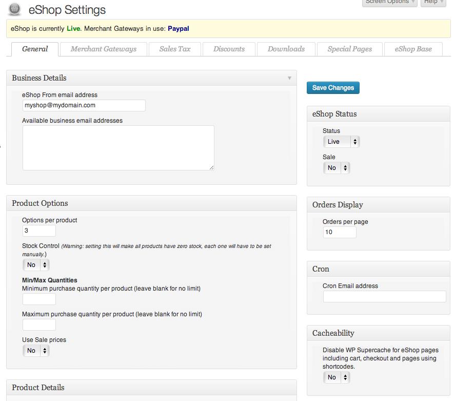Sell with WordPress   eShop Admin Settings