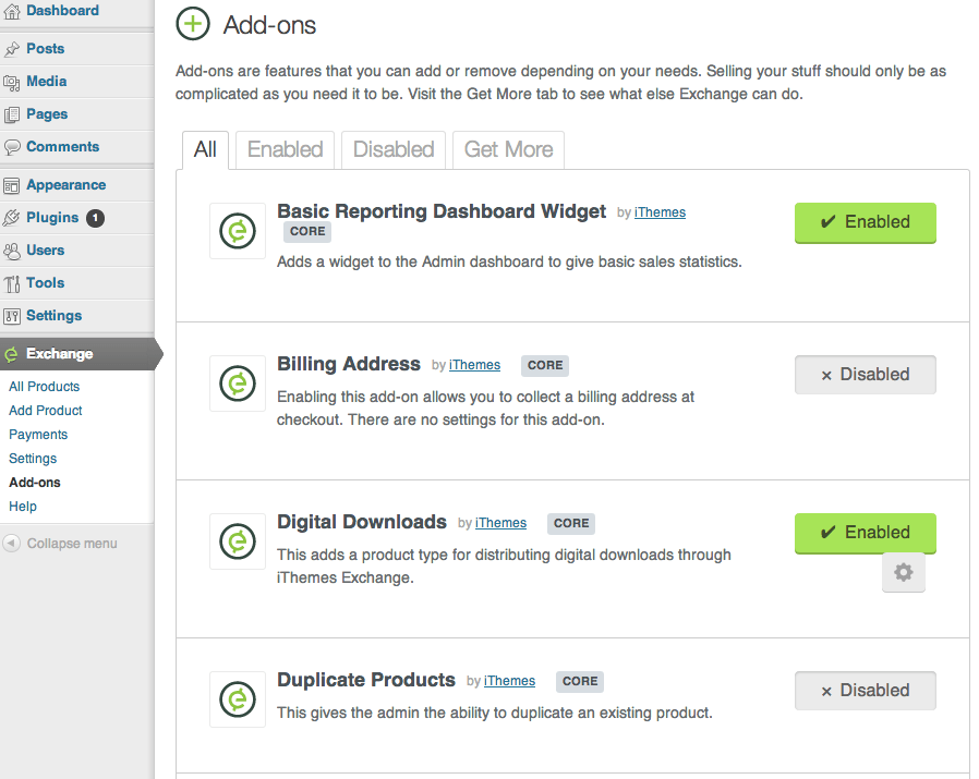 Sell with WordPress | Exchange Add-on Activation