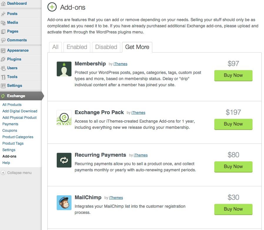 Sell with WordPress | Exchange Paid Add-ons