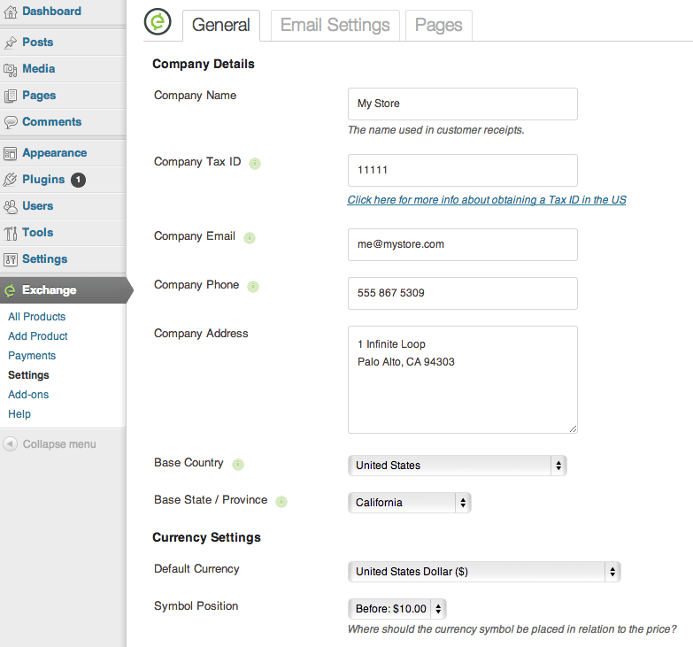 Sell with WordPress | Exchange Settings