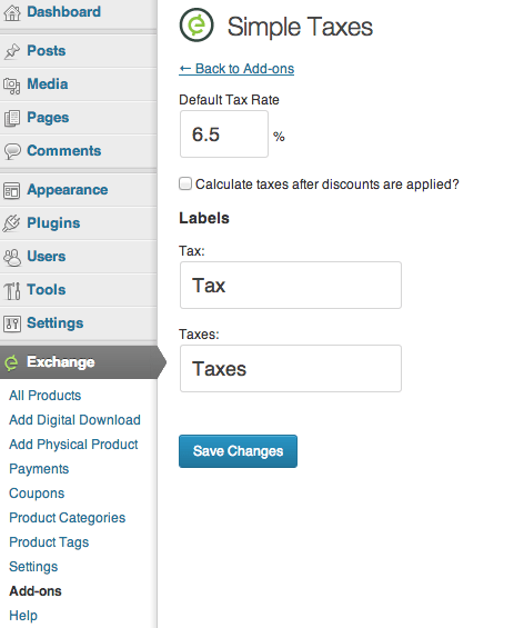Sell with WordPress | Exchange Tax Options
