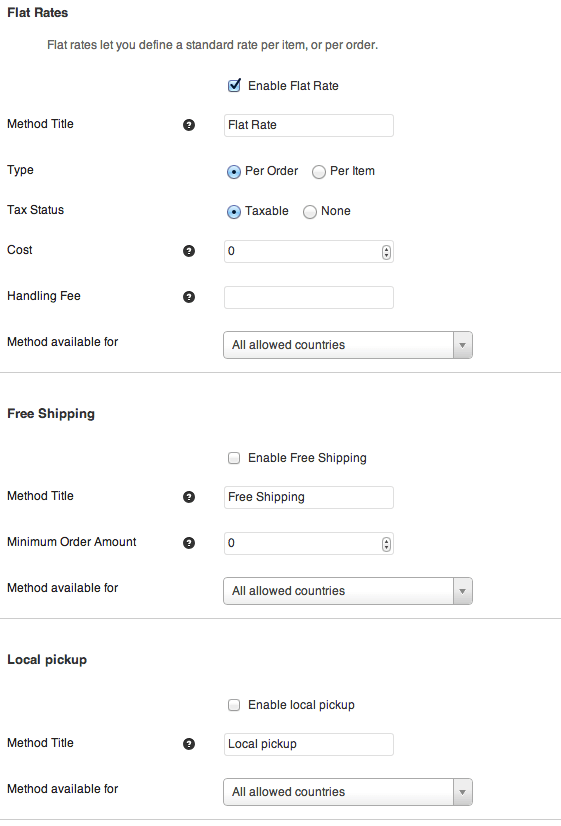 Sell with WordPress | Jigoshop Shipping Options