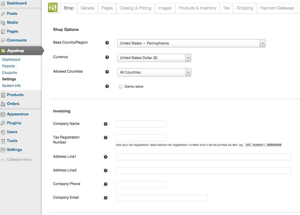 Sell with WordPress | Jigoshop Admin Settings