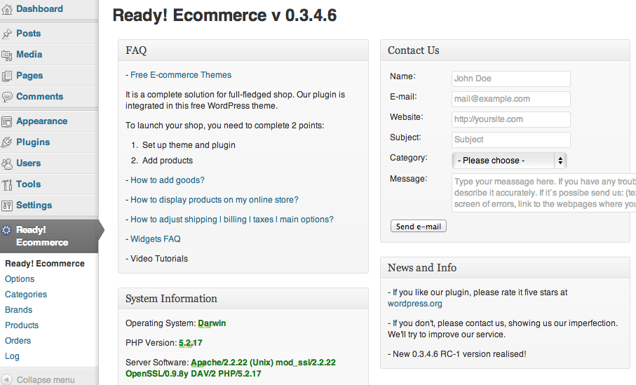 Sell with WordPress | Ready! Cart Dashboard