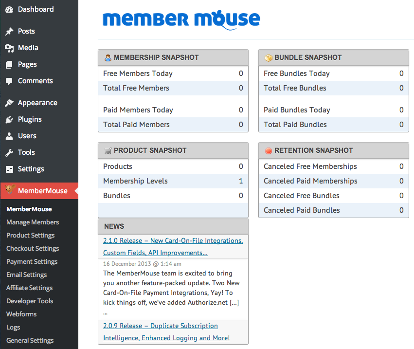 Sell with WP MemberMouse Review | Dashboard