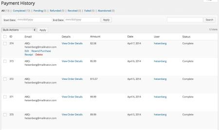 Selz vs Easy Digital Downloads | EDD Payments Screen