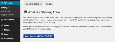 WP Engine Review | Staging area