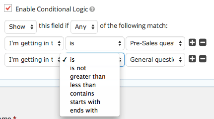 Gravity Forms Setting logic rules