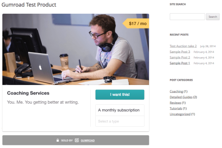 Gumroad Embedded Product