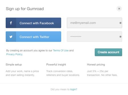 Gumroad signup