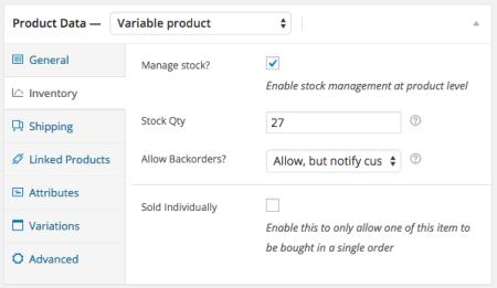 WooCommerce 2.2 Inventory