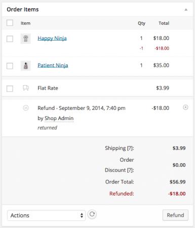 WooCommerce 2.2 Order Refunded