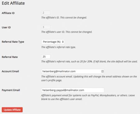 AffiliateWP Adjust referral rate