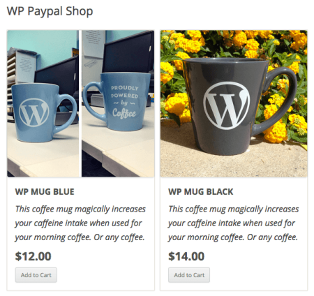 WordPress Simple PayPal Shopping Cart | product boxes