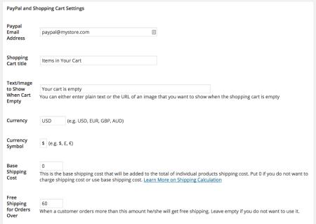 WordPress Simple PayPal Shopping Cart | settings