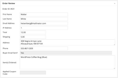 WordPress Simple PayPal Shopping Cart | Order record