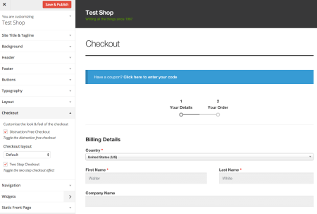 Storefront Best free WooCommerce theme   checkout customizer