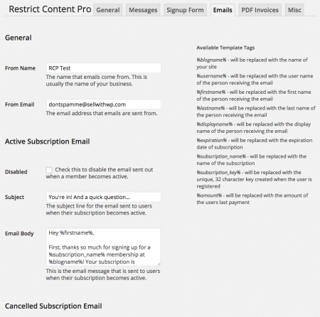 Restrict Content Pro Review: emails