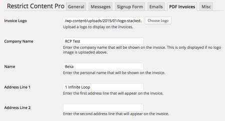 Restrict Content Pro Review: invoice setup