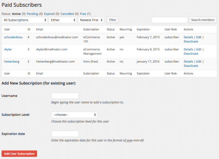 Restrict Content Pro Review: subscribers