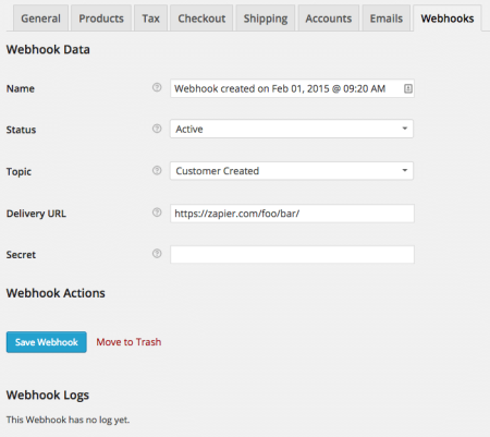 WooCommerce 2.3 Review: 2.3 webhook UI