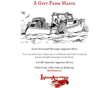 Lobster anywhere e gift certificate