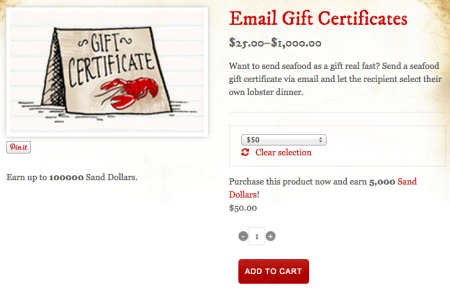 email dollar based gift certificates