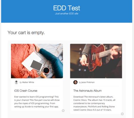 EDD Vendd Review: empty cart page