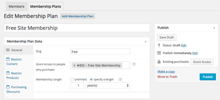 WooCommerce Memberships Review: general plan settings