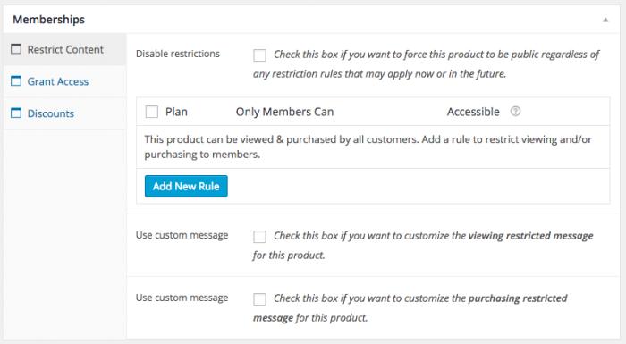 WooCommerce Memberships Review: product meta  box