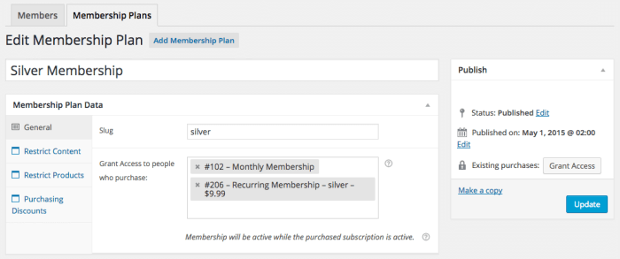 WooCommerce Memberships Review: Subscription plans