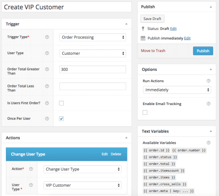 AutomateWoo Review: WooCommerce VIP customer trigger
