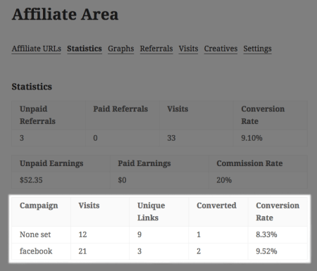 AffiliateWP Campaign Tracking