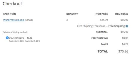 Shopp Free Shipping applied