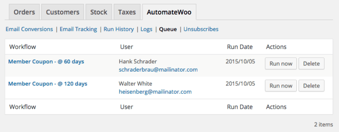 AutomateWoo WooCommerce member coupons: managing scheduled workflows