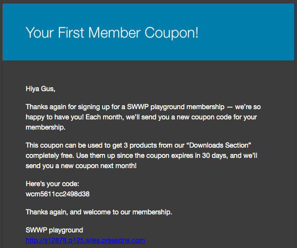 AutomateWoo WooCommerce Member Coupons: first email