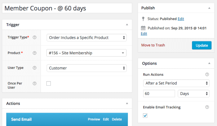 AutomateWoo WooCommerce member coupons: follow up workflows