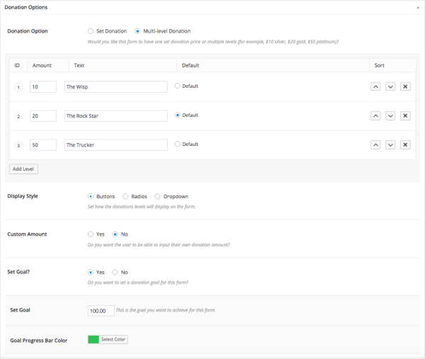 donation options for donations on WordPress