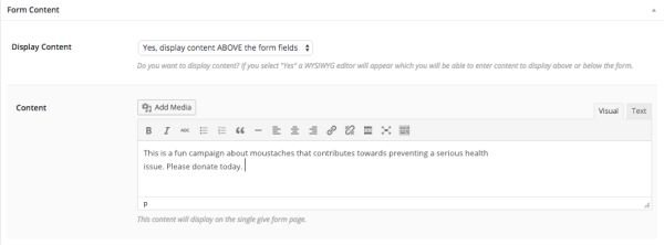 form content for donations on WordPress