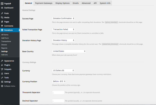 settings for donations with wordpress