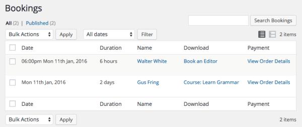 Easy Digital Downloads Bookings bookings list