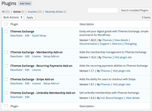 iThemes Exchange Umbrella memberships:  plugins used