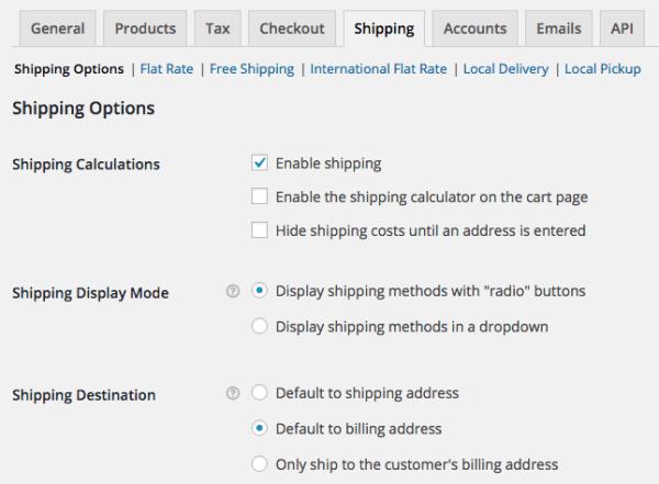 WooCommerce 2.4 Shipping options