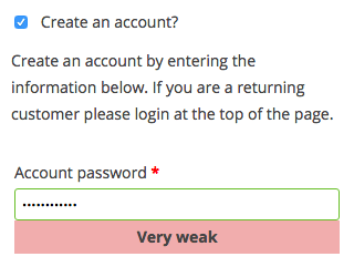 WooCommerce 2.5 Review: WC 2.5 strong passwords
