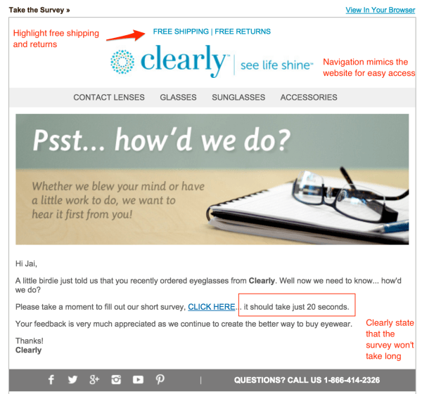clearly feedback email