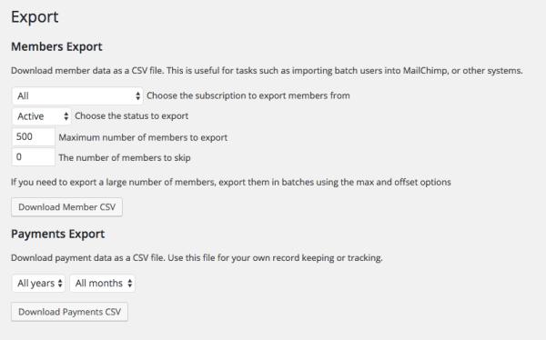 Restrict Content Pro: Export members